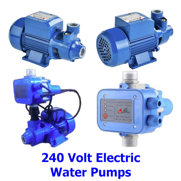240 Volt Electric Water Pressure Pumps. A collection of quality 240 volt water pressure pumps and control valves for getting water from the tank to the tap at call.