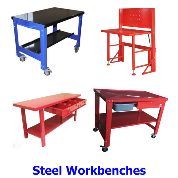 Workbenches. A collection of heavy duty steel workbenches for any application.