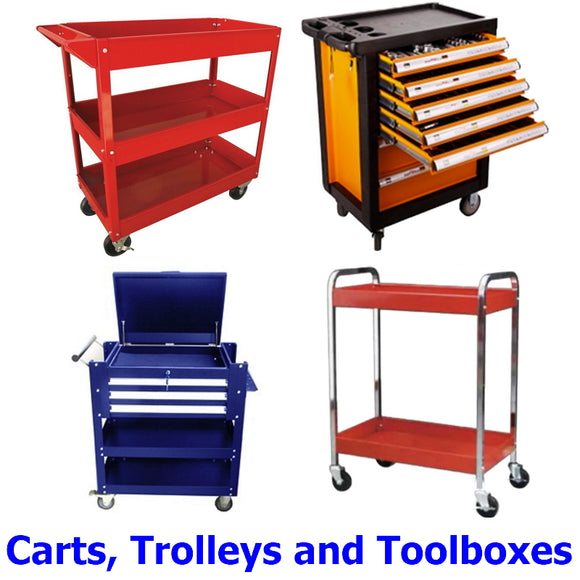 Carts, Trolleys and Toolboxes. A collection of quality carts, service trolleys and mobile toolboxes for your workshop, garage or shed.