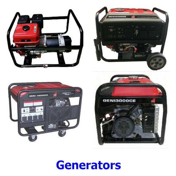 Generators. A collection of quality Millers Falls TWM 4 stroke petrol engine electricity generators for power when you need it off the grid or in case of power failure.