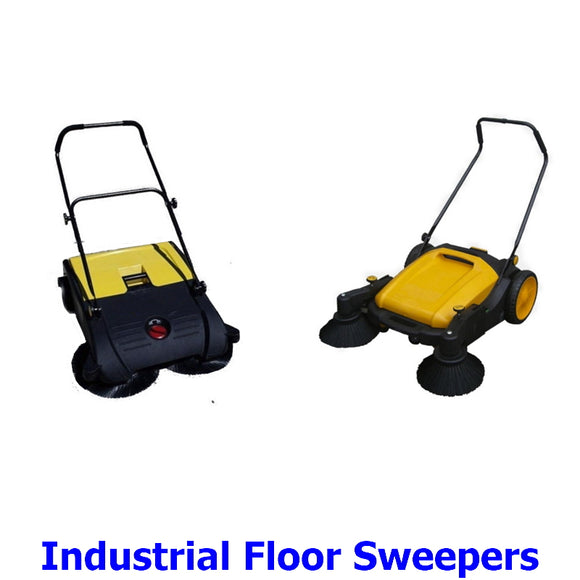 Industrial Floor Sweepers. A collection of manual industrial wet and dry floor sweepers to keep workplace and sports court floors clean, dry and safe.