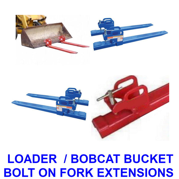 Front End Loader / Bobcat bucket Clamp On Fork Extensions