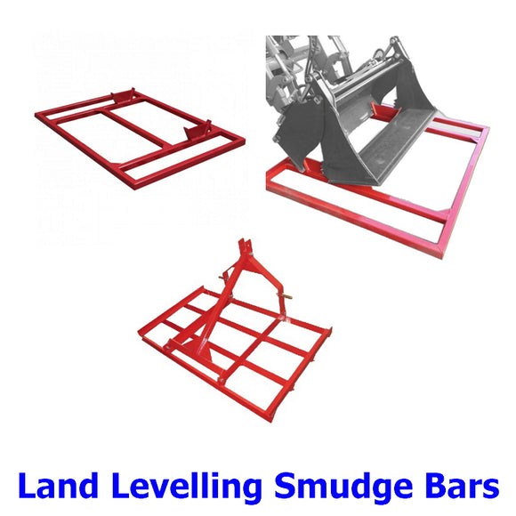 Land Levelling Smudge Bars. A collection of quality steel levelling smudge bars to suit tractors and machines with 4 in 1 buckets for farmers, landscapers and property owners.