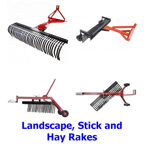 Landscape, Stick and Hay Rakes. A collection of quality Millers Falls TWM landscape, stick and hay rakes. 3 Point Linkage or towable behind an ATV, quad bike, ride on mower 4x4 or other vehicle.