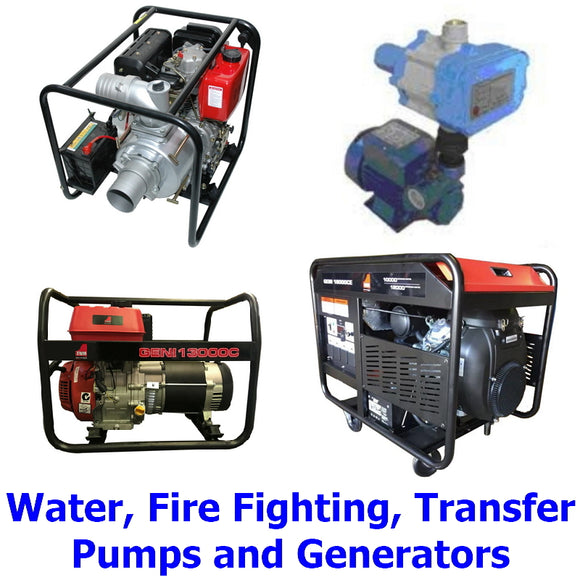 Pumps & Generators. A collection of quality Millers Falls TWM generators and water transfer, fire fighting and pressure pumps for the farm, home owner or builder.