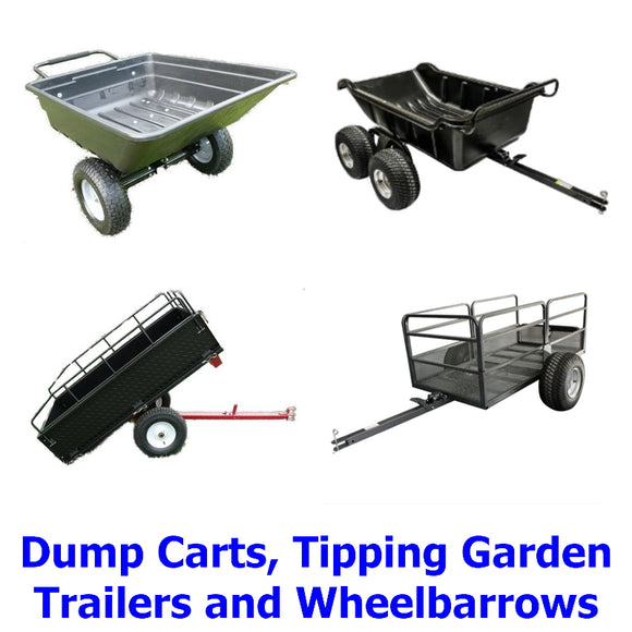 Dump Carts, Garden Tipping Trailers and Wheelbarrows. A collection of quality, versatile Millers Falls wheelbarrows, garden tipping trailers and dump carts for ATV's, rideon mowers, quadbikes and garden tractors, etc.
