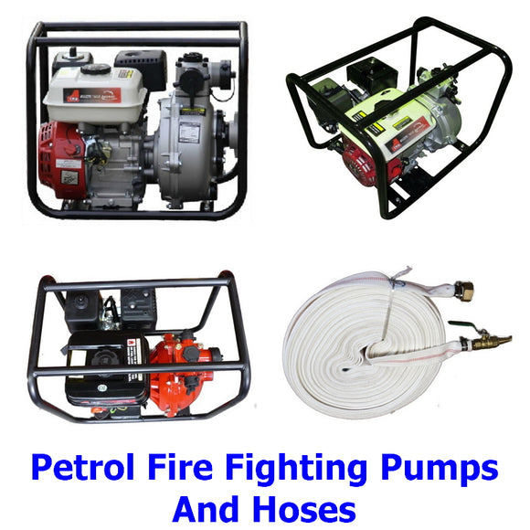 Petrol Engined Fire Fighting Pumps. A collection of petrol engined single and twin impeller firefighting pumps and hoses to protect your property.