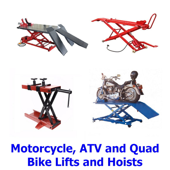 Motorcycle, ATV, Quad Bike Hoist lifts. A collection of top quality hoists and lifts designed to make life for owners and repairers of motorcycles,ATVs, quad bikes etc. much safer and easier than ever before