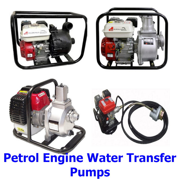 Petrol Engine Water Transfer Pumps. A collection of quality Millers Falls TWM petrol engine high volume water transfer pumps for commercial, industrial or home use.