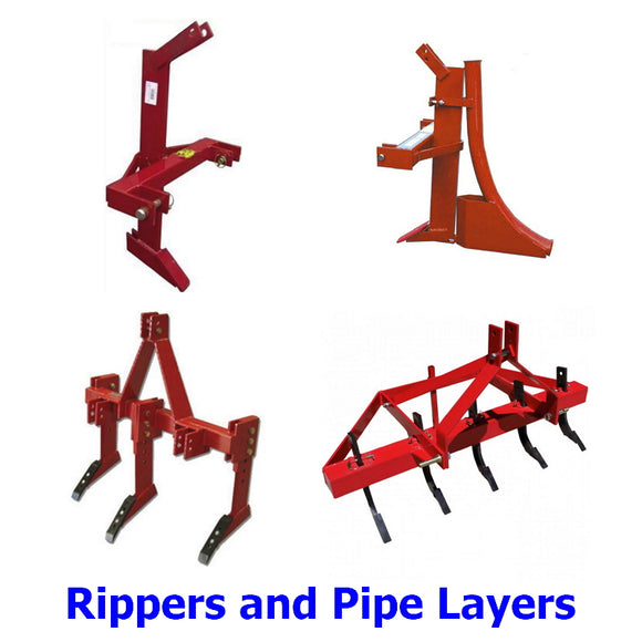 Rippers and Pipe Layers. A collection of rippers and pipe laying attachments with a multitude of applications. Break up hard ground, rip up tree stumps or rocks, trench and lay poly pipe in one action, plant trees or remove rabbit warrens.