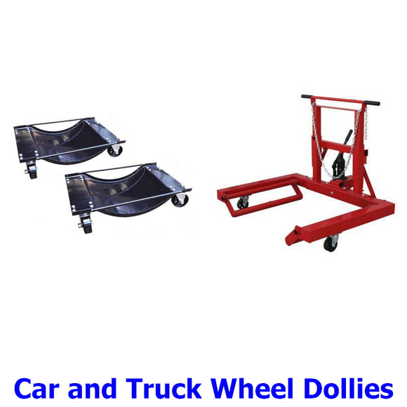 Wheel Dollies for Cars and Trucks. A collection of wheel dollies to make moving and storage of cars in limited space easier than ever before and take the effort out of changing dual and single wheels and tyres on heavy commercial vehicles.