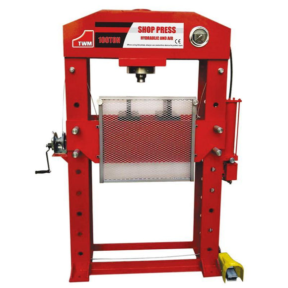 TWM Millers Falls 100 Ton HD Air Hydraulic Shop Press with Foot Valve and Sliding Head #PRESALR100T 1
