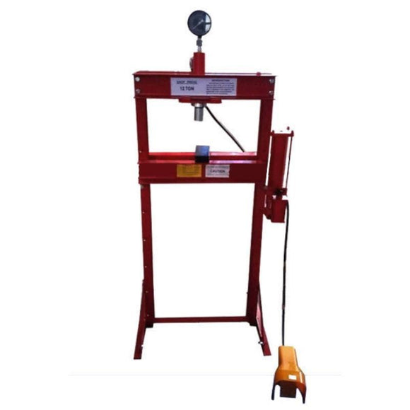 TWM Millers Falls 12 Ton HD Air Hydraulic Shop Press with Foot Valve and Sliding Head 1