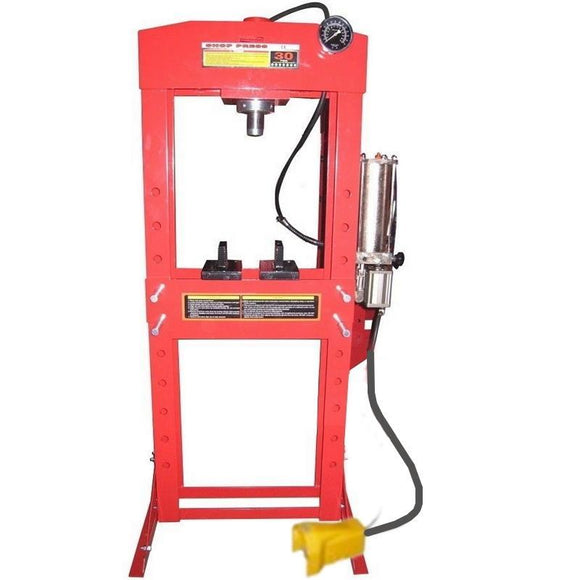 TWM Millers Falls 30 Ton HD Air Hydraulic Shop Press with Foot Valve and Sliding Head #PRESALR30T 1