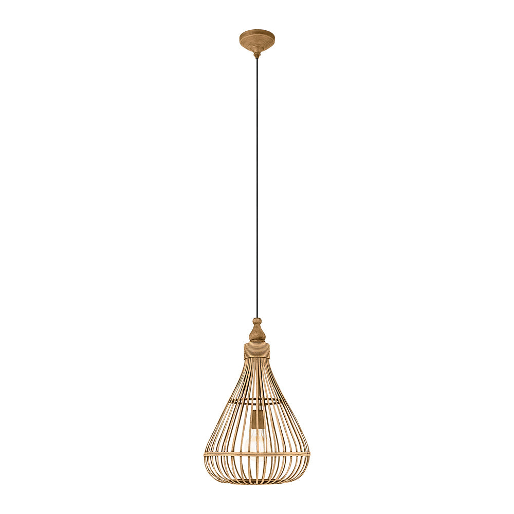 Eglo Amsfield Bamboo Woven Wicker Pendant Light