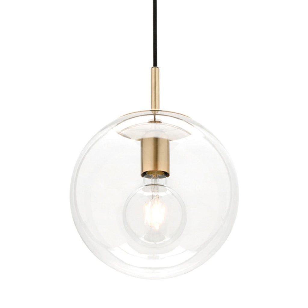 Madrid Clear Sphere Pendant Light With Brushed Brass Metalware