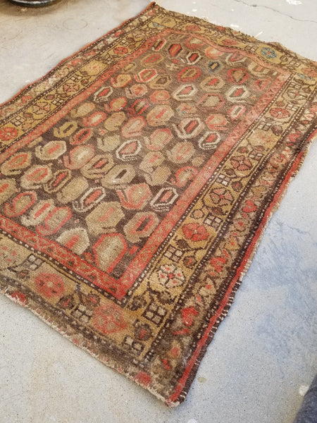 2'3 x 3'2 antique Kurdish rug
