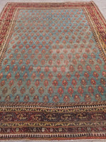 8' x 10'6 Antique Teal Agra (#1065)