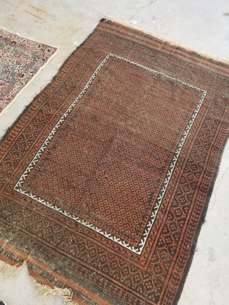 3'7 x 5'5 antique nomadic Baluch rug (#1094)
