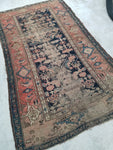 4'3 x 7' love worn antique Kurdish Rug