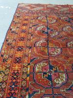 2'7 x 3'10 antique Tribal Turkmen / Turkoman Rug / Small Antique Rug (#1300)