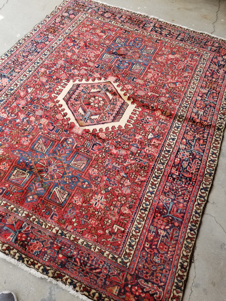 5' x 6'5 antique Persian Heriz Gharajeh tribal rug (#1305ML)