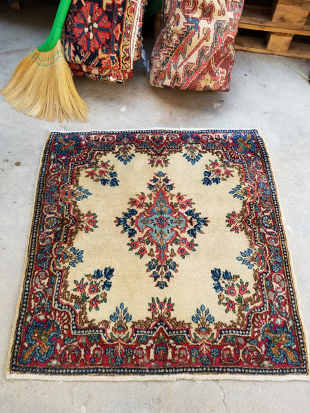 2'10 x 3' antique square Persian Kerman rug (#1341)