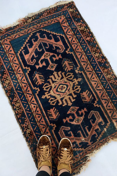 2'8 x 3'9 Antique Persian Kurdish Rug (#565)
