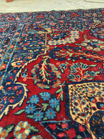 7'2 x 9'6 antique Persian Kerman / 7x10 vintage rug