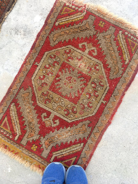 1'9 x 2'9 Antique Turkish Rug Mat