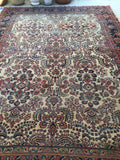 7'11 x 11' antique ivory Sarouk