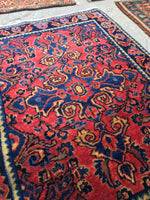 1'10 x 2'6 antique Persian Mohajeran Sarouk mat (#457N)