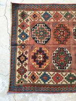 3'6 x 9'10 antique Caucasian runner (#1221)/ 10 foot vintage runner