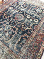 7' x 8'5 love worn antique Persian Mahal Rug