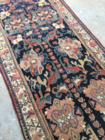 3'9 x 12'3 Indigo Blue Antique Runner