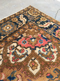 6'5 x 10'2 Deep Coral Persian Heriz / Large Antique Rug