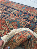 3'4 x 4'4 Small Midnight Blue n Rust Heriz / Antique Heriz / Small Vintage Rug