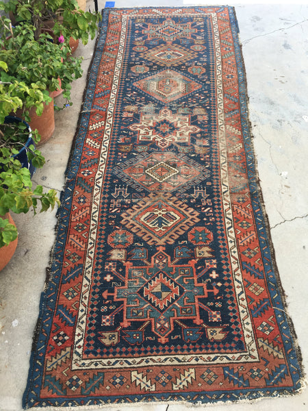 3'7 x 9'7 antique Persian Heriz Runner
