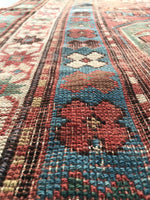 4 x 6'7 Worn Antique Caucasian Rug / Cloudband Rug