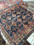 4'2 x 4'4 Antique Caucasian Kuba Rug / Square Rug