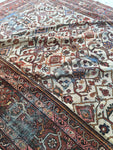 8'2 x 12'2 antique ivory Persian Mahal / large 8x12 vintage rug (#1244)