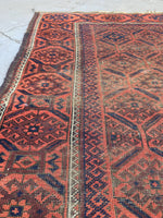3' x 4'9 Antique Baluch Rug / 3x5 worn vintage rug