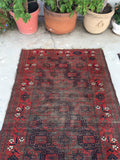 3'3 x 6'4 Antique Baluch Rug / 3x6 worn vintage rug (#745)