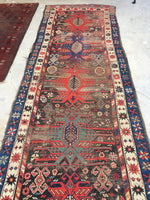 3'7 x 10'2 Antique Caucasian Runner with Eagle Art