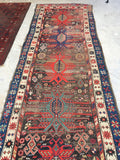 3'7 x 10'2 Antique Caucasian Runner with Eagle Art (#746)