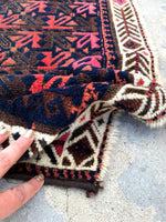 2'5 x 2'8 square antique Baluch mat (#1097)