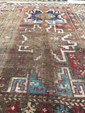3'2 x 4'3 Antique worn Caucasian Rug / small antique rug (#1101)
