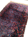 1'7 x 3'3 antique nomadic Baluch scatter rug (#1103)