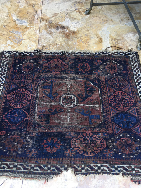 2'3 x 2'9 Antique Baluch Rug mat / Small  Rug / 2x4 Vintage Rug