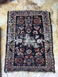 2' x 2'9 love worn Persian Lilihan rug mat / small antique rug